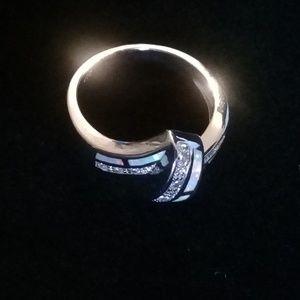 Modern style silver opal size 7